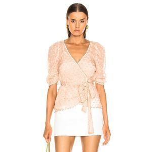 Alice McCall Embroidered Pom Pom Wrap Blouse